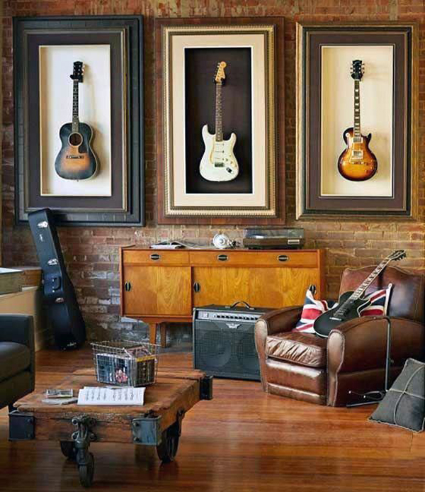 Living Room With Guitar Wall Art Decor
