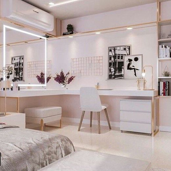 40 Feminine Makeup Room Ideas That Women Must Have ... on Makeup Room Design  id=69626