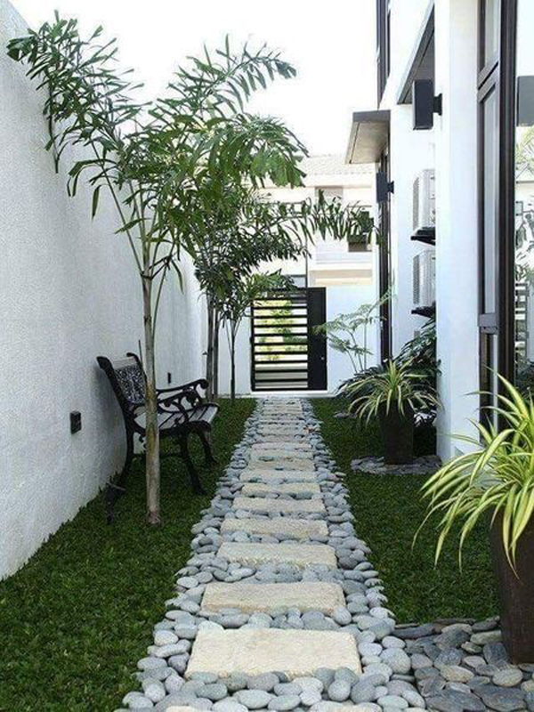 simple-side-yard-garden-ideas-with-seating-area - HomeMydesign