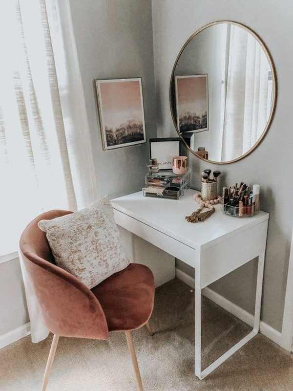 40 Feminine Makeup Room Ideas That Women Must Have ... on Makeup Room Ideas  id=93211
