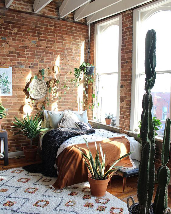 Bohemian Bedrooms With Exposed Bricks Homemydesign