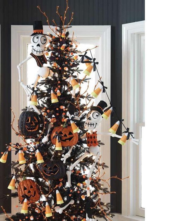 Decorating Christmas Trees For Halloween.Black Halloween Christmas Tree Decor Ideas Home Design And