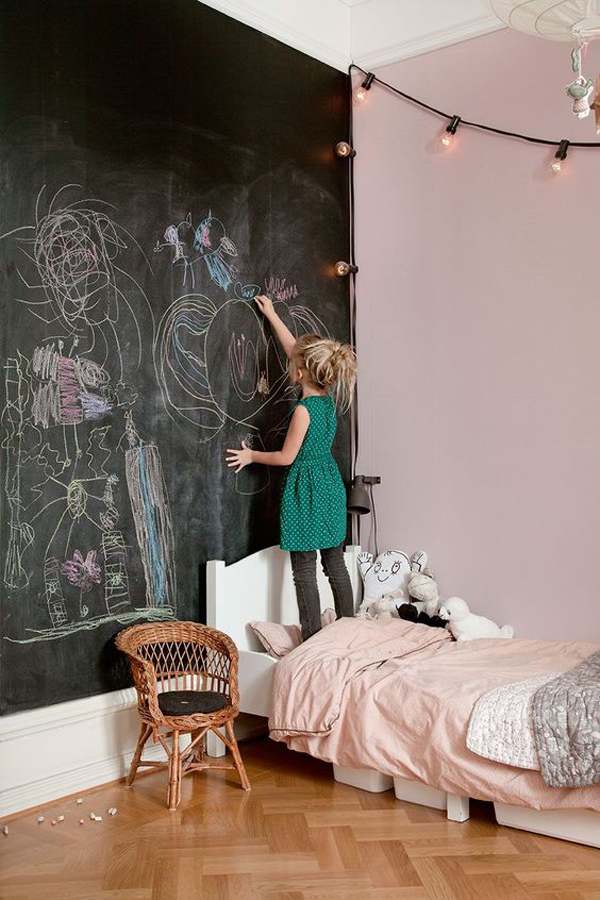Pretty Little Girl Bedroom With Chalkboard Wall Homemydesign