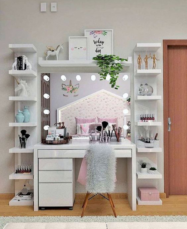 32 Stylish Home Makeup Room Ideas That All Women Must Have ... on Makeup Room Design  id=14001