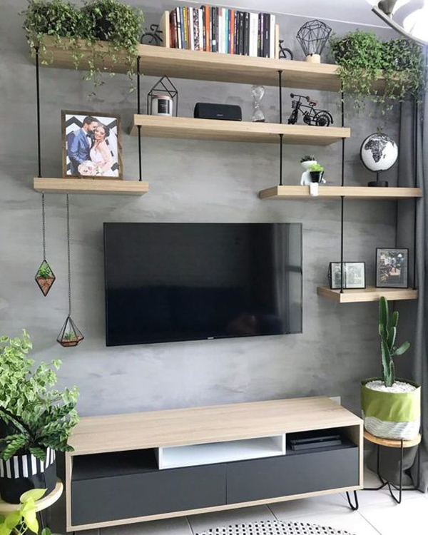 Modern Tv Wall Decor With Indoor Planters Homemydesign