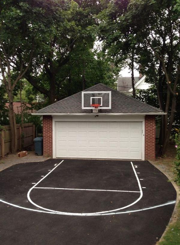 backyard-garage-design-with-basketball-court - HomeMydesign