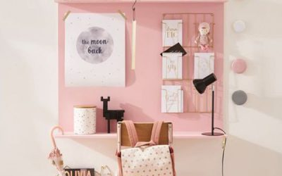 adorable-pink-study-desk-with-wall-organizer