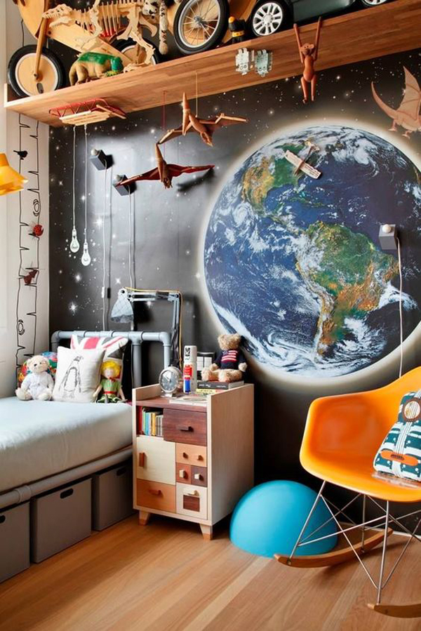 amazing-kids-bedroom-with-wall-shelves-and-decals