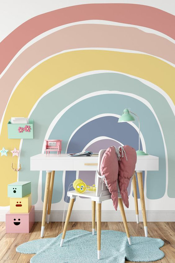 cheerful-study-desk-with-rainbow-wall-mural