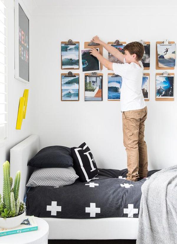creative-boys-bedroom-with-wall-art-display