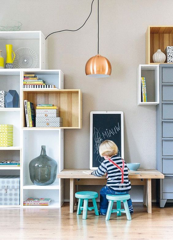rustic-kids-study-room-with-wall-shelves