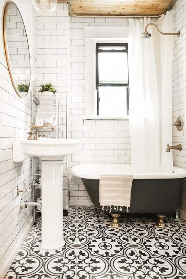beautiful-vintage-bathroom-with-black-and-white-floor-tile