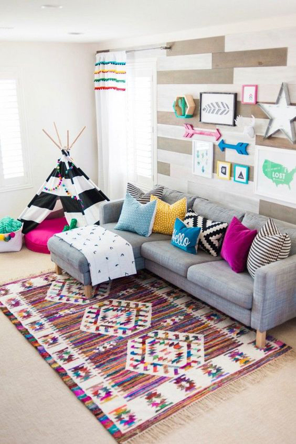 colorful-boho-playroom-in-living-area