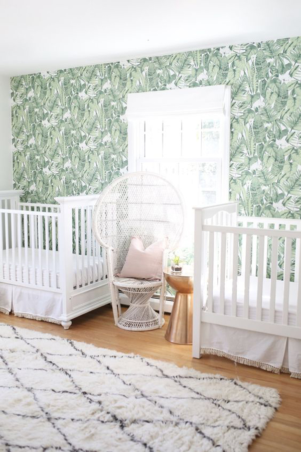 cool-twin-nurseries-with-palm-print-wallpaper