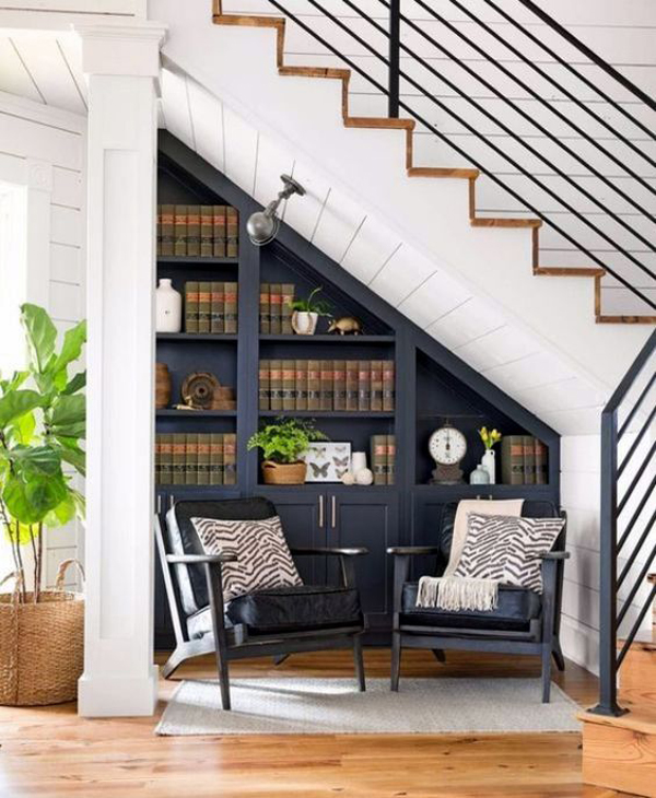 cozy-reading-chairs-with-home-library-in-understair