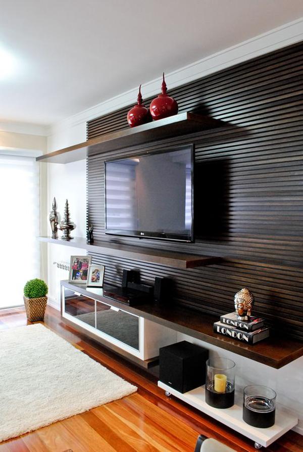 dark-wood-tv-backdrop-with-shelving-unit