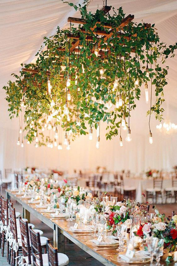 fresh-diy-greenery-wedding-chandeliers