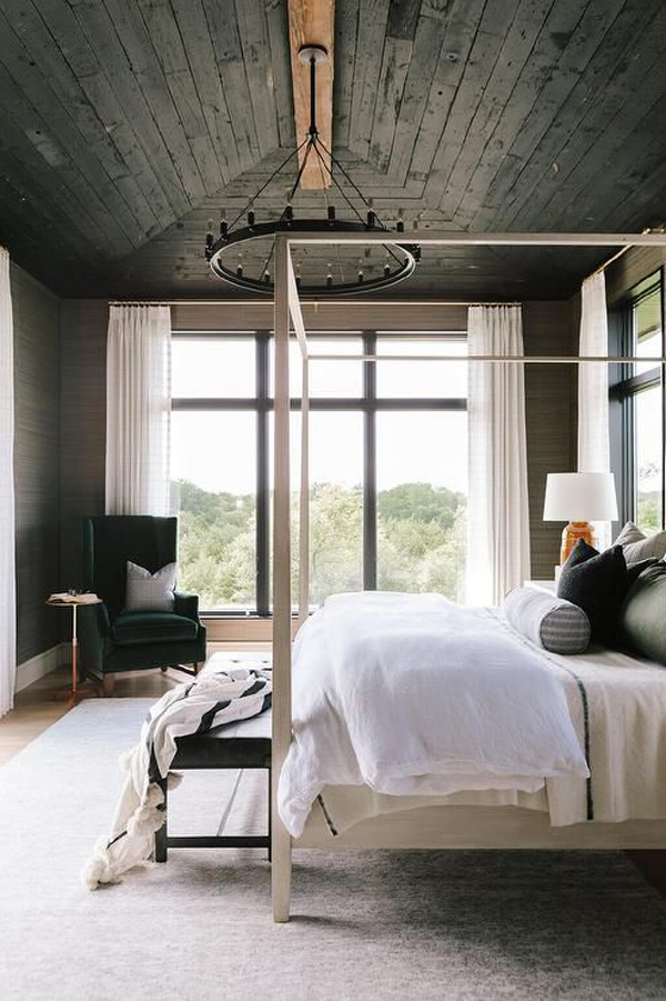 mid-century-bedroom-style-with-black-pallet-ceiling-color