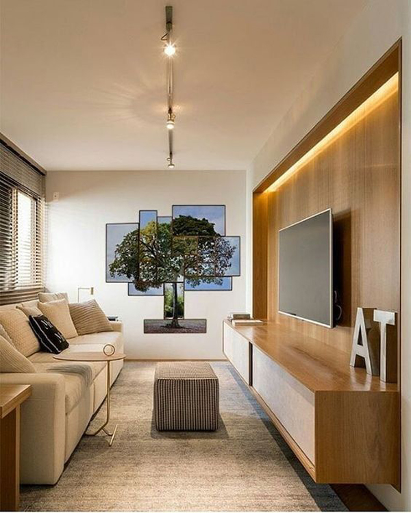 minimalist-livin g-room-with-wood-tv-backdrop