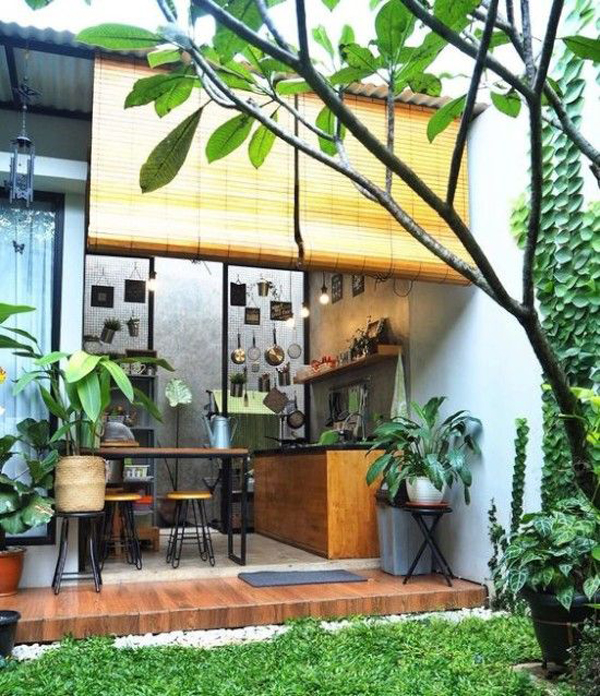 open-kitchen-and-dining-room-with-bamboo-curtains