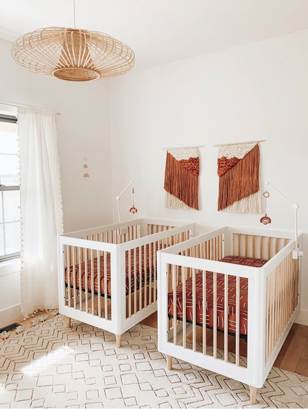 twin-nursery-design-with-bohemian-style