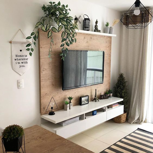 wooden-tv-backdrop-with-plants