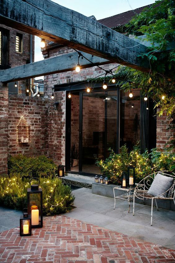 industrial-patio-garden-with-lights