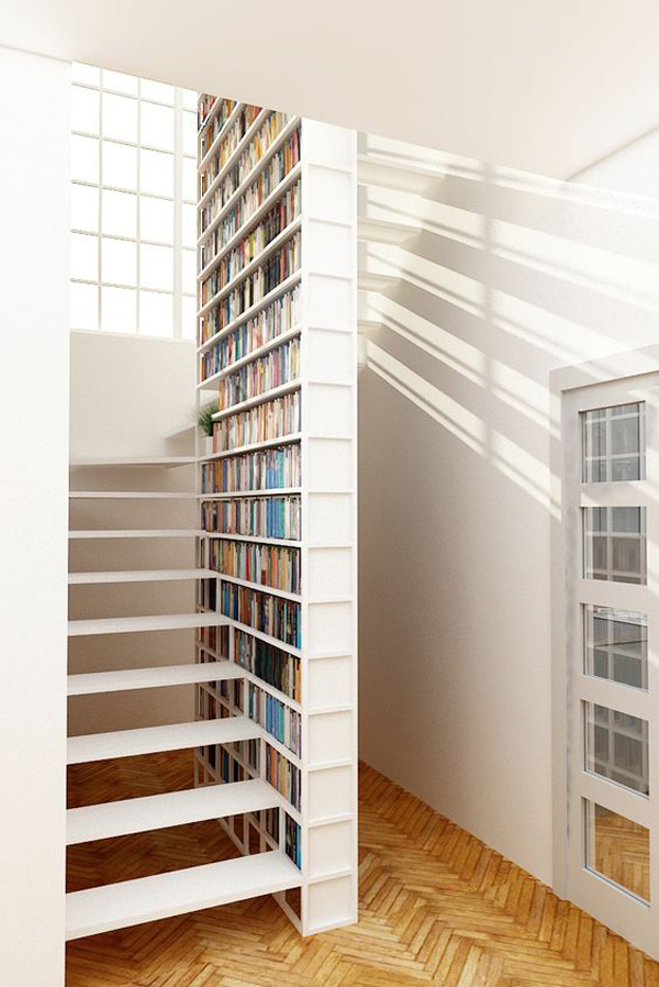 minimalist-floating-stair-with-bookshelf-ideas