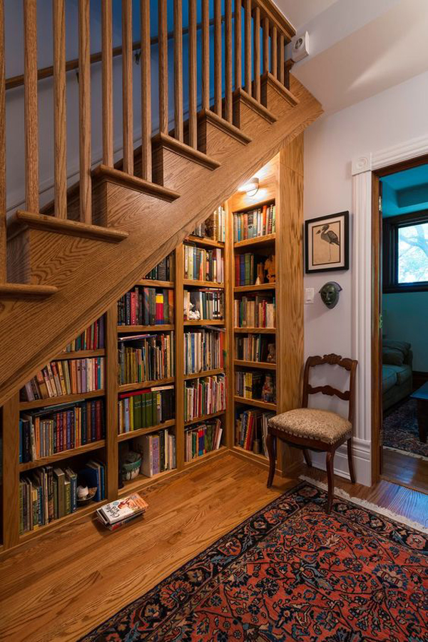 rustic-understair-home-library-design