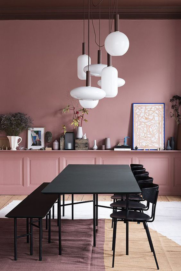adorable-pink-dining-room-with-black-furniture