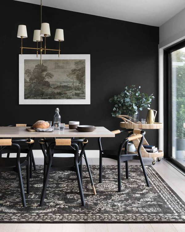 boho-chic-dining-space-with-black-chair-and-walls