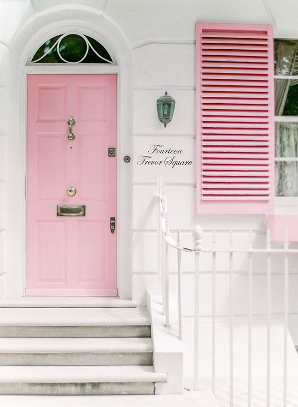 cottage-style-front-door-and-window-with-pink-color
