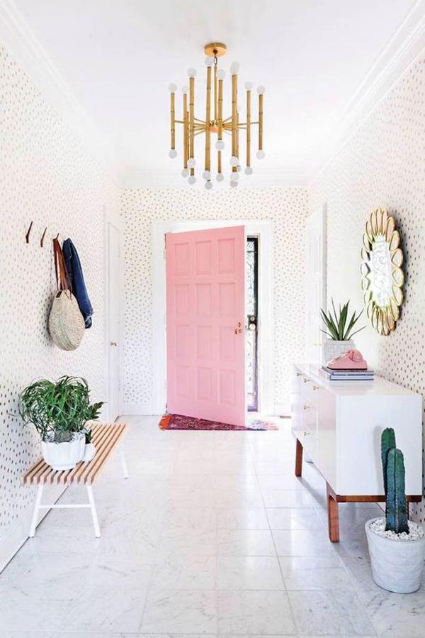 elegant-pink-door-design-for-entryway