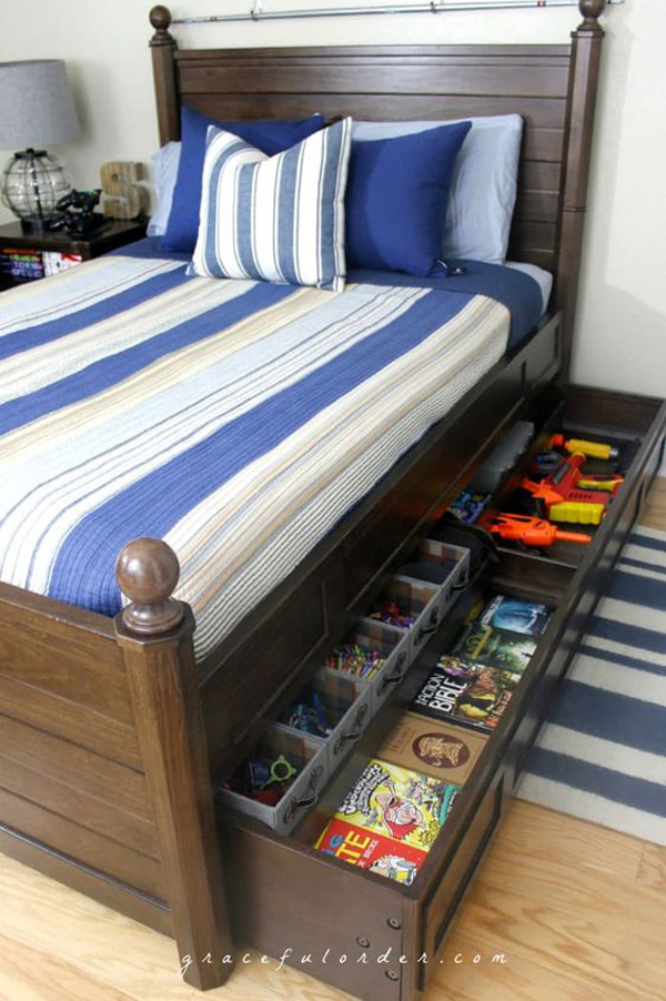 library-under-kids-bed