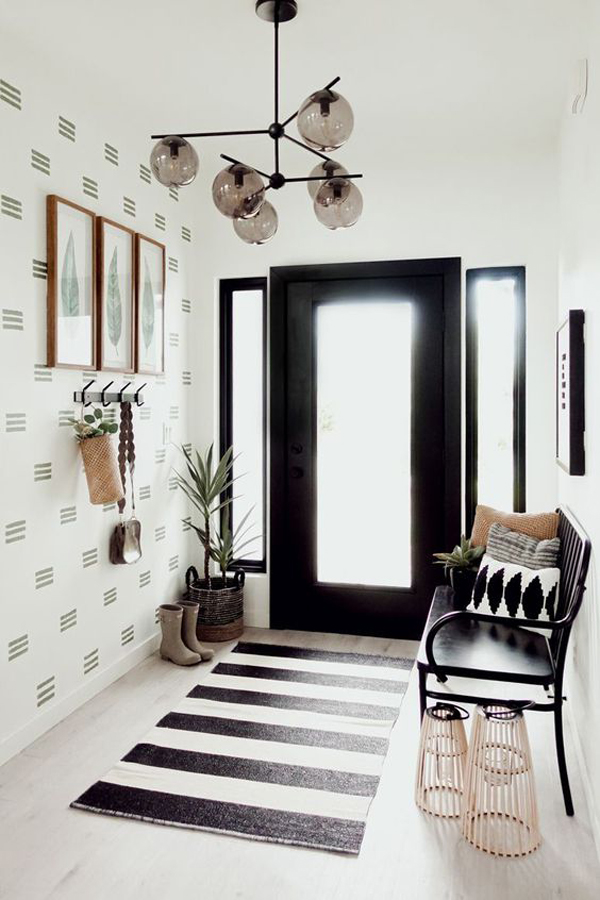 modern-entryway-with-black-benches