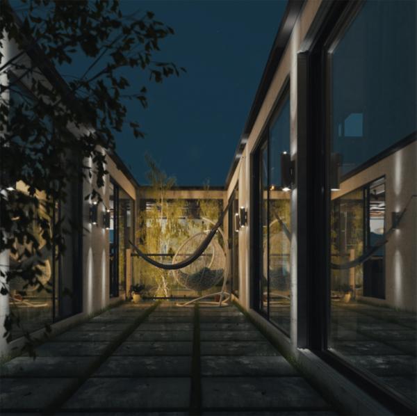 modern-private-backyard-with-hammock