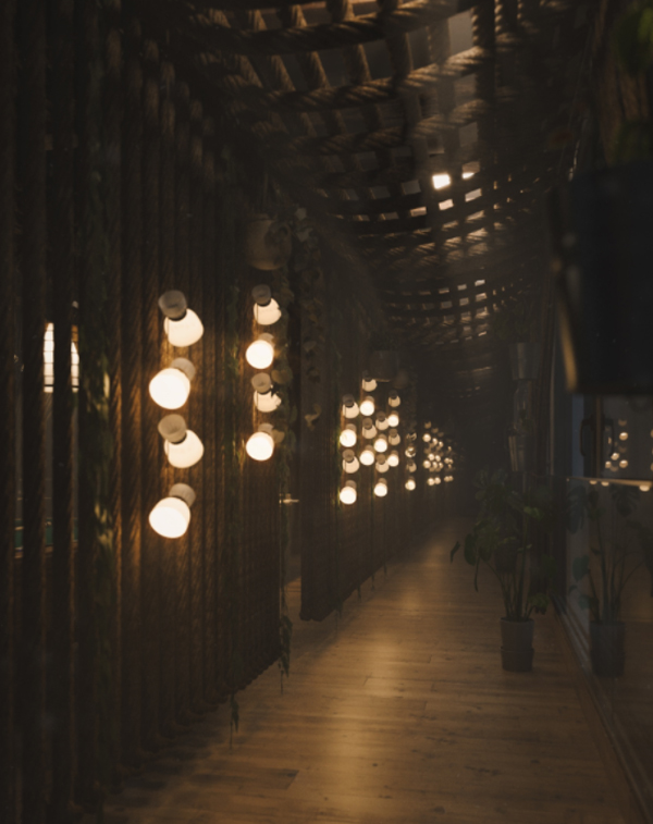 mountain-house-hallway-with-lights