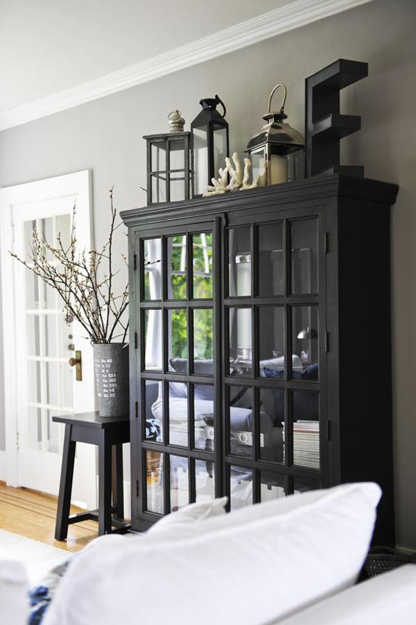 rustic-black-cabinet-design-for-living-room