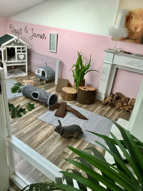 adorable-pink-bunny-cage-and-playground