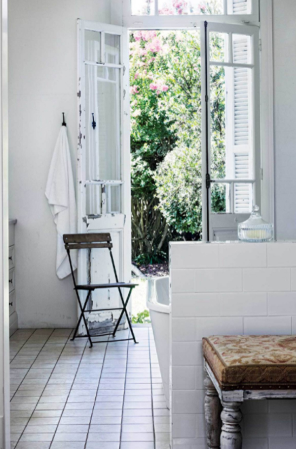 antique-bathroom-with-reclaimed-french-doors