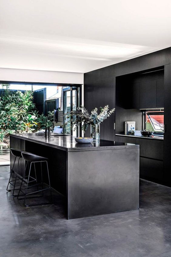 beautiful-black-kitchens-with-concrete-floors