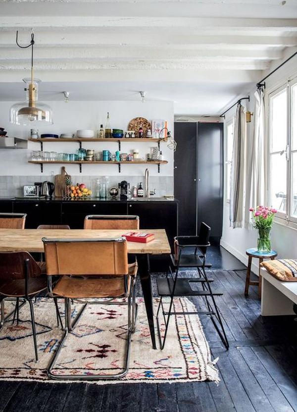 black-kitchens-with-wood-floor-design