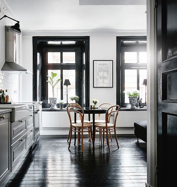 cool-kitchen-and-dining-room-with-wood-black-floor