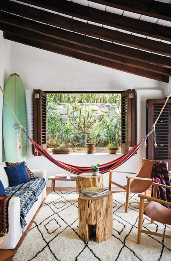 cozy-living-space-with-hammock-and-surfboard-ideas