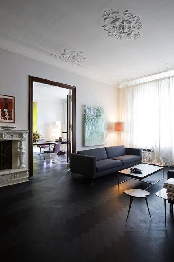 monochromatic-living-room-design-with-black-wood-floor