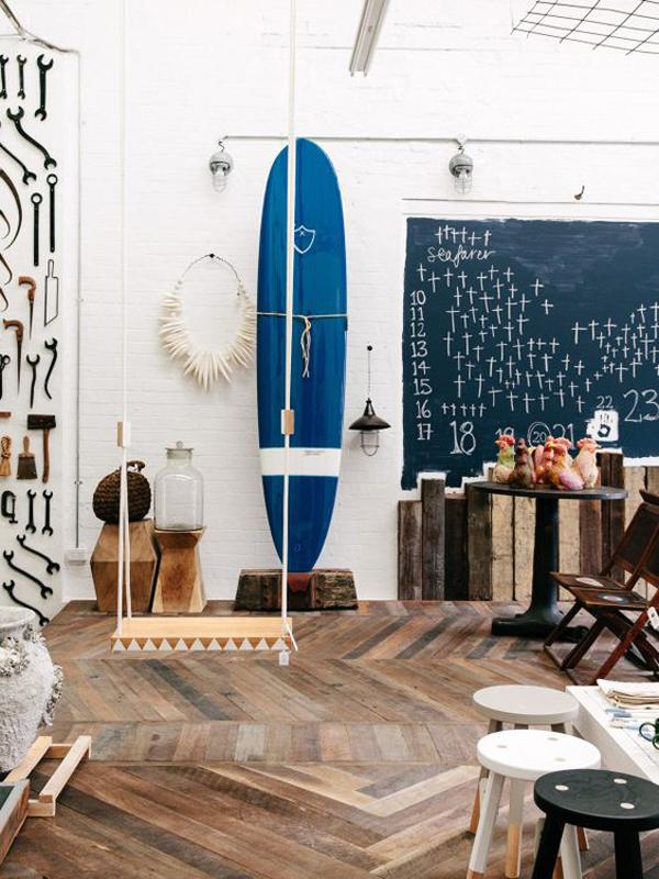 stylish-blue-surfboard-wall-display