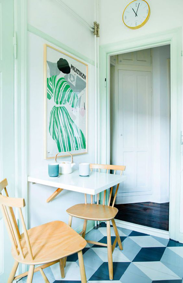 tiny-dining-room-with-mint-green-wall