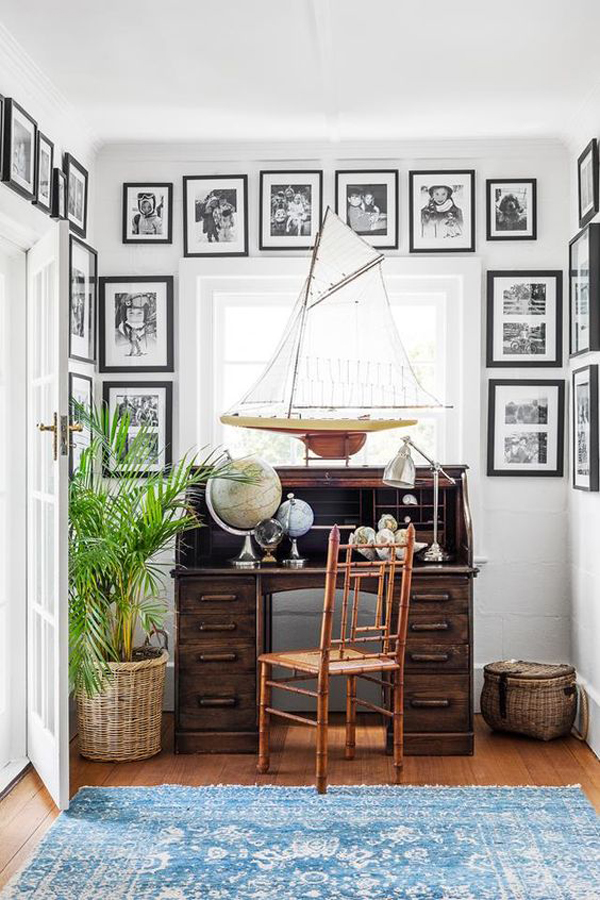 vintage-coastal-style-home-office-with-ship-miniature