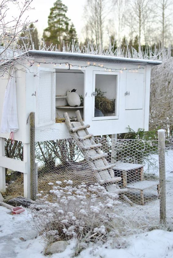 white-outdoor-bunny-hutch-ideas