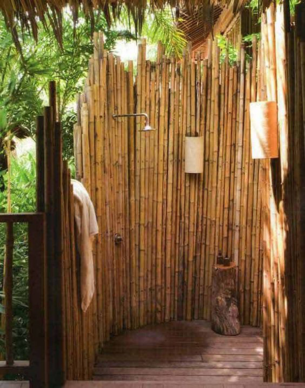 beautiful-outdoor-shower-with-diy-bamboo-barrier